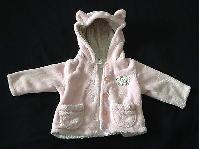 Gorgeous Baby Girls Fluffy Pink Winter Coat / Jacket 0-3 Months