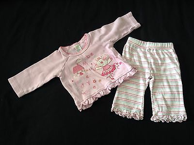 Baby Girls 0-3 Months Stripy Trousers & Mabel Mouse Pink Top