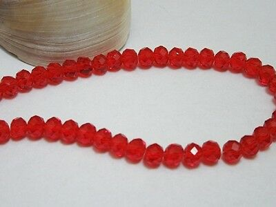 10Strand x 100Pcs Red Faceted Crystal Beads 6mm