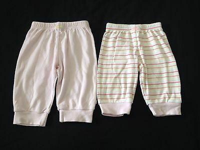 Baby Girls 2 Pack Trousers Mothercare Pink / Stripy 3-6 Months