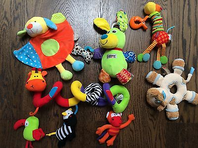 Bundle of Baby Sensory Soft Pram Toys Lamaze, Red Kite, Tiny Love