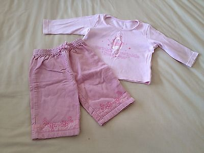Baby Girls 3-6 Months Pink Cord Trousers & Fairy Top