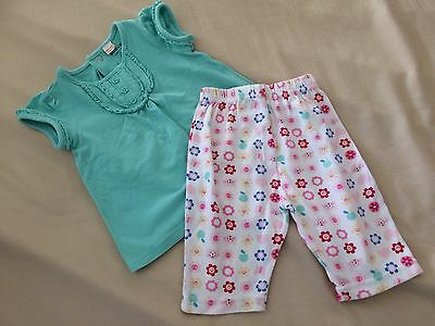 Baby Girls 3-6 Months Summer Outfit Turquoise Top Multi Coloured Loose Trousers