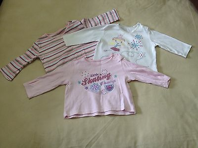Baby Girls 3-6 Months Long Sleeved Tops (pink, white, stripy) Pack Of 3