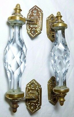 Splendid Pair Antique Arts&crafts Glass & Brass Door Pull Handles Reclaimed