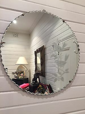 Antique Art Deco Round Scalloped Edge MIrror Etched With Design Of Birds