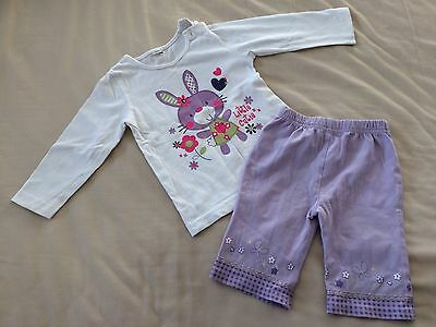Baby Girls 9-12 Months Cropped Lilac Trousers & White Top With Bunny Motif