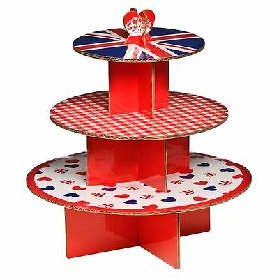 3 Tier Cardboard 'I Love UK' Party Cake Stand (hold up to 28 cupcakes)