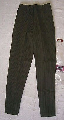 Vintage Stretch Cropped Trousers - Age 10 - Green/Black Stripe - New