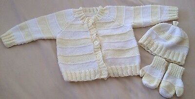 Baby Unisex 12 Months Hand Knitted Cardigan & Matching Mitts & Hat Yellow/white