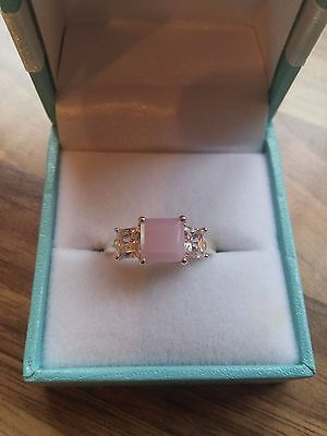 QVC 925 Sterling Silver Simulated Rose Quartz & Cubic Zirconia Ring Size N/O