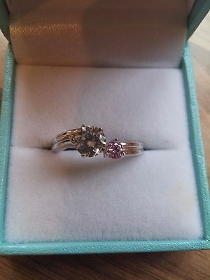 QVC 925 Sterling Silver Simulated Pink Sapphire & Cubic Zirconia Ring Size N/O