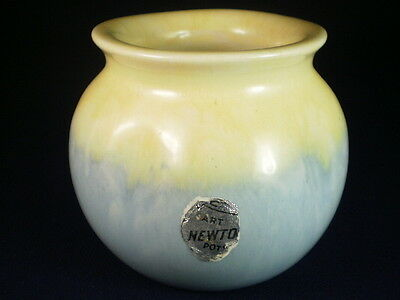 Newtone Art Pottery Blue & Yellow Pot Vase