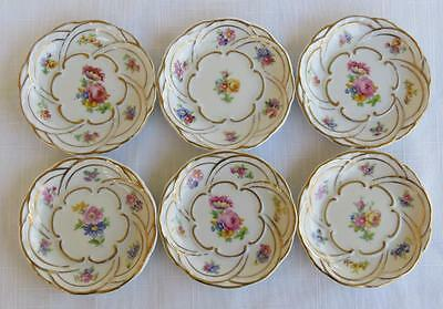 6 Vintage Zsolnay Hungary Butter Pats - Dresden Style Flowers & Gold Trim
