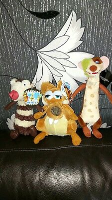 Brand new with tags X3 ice age soft plush toys including 'Scratte'