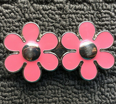 "DAISY FLOWERS ""Pink & Silver"" Children's Girl's Metal Alloy Fashion Belt Buckle"