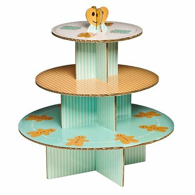 3 Tier Cardboard Gingerbread Man Cake Stand (Holds up to 28 cupcakes)