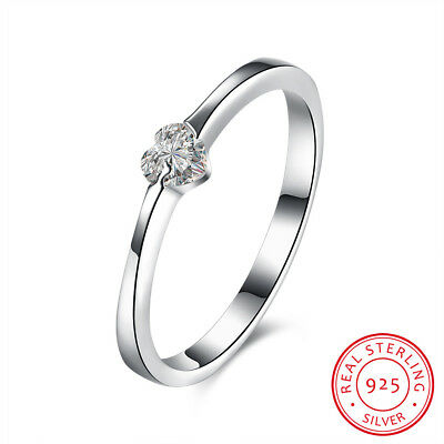New 925 Sterling Silver Solid Simple Heart Crystal Wedding Engagement Band Ring