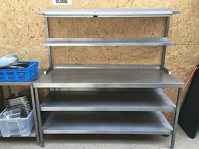 Stainless Steel Table Work Bench with 2 Tier Gantry Shelves