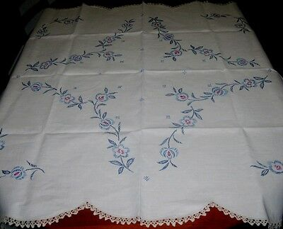 Vintage Hand Embroidered Tablecloth~Pure Linen~Cream~Square~Scalloped Lace Edge