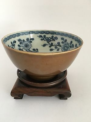 18Th/19Th C Chinese Porcelain Bowl (Cafe-au-lair) Outer Glaze