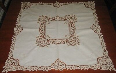 Vintage Cotton Battenburg Lace Supper Cloth ~ Cream ~ Square