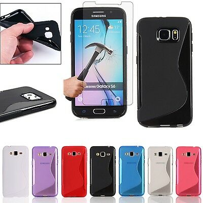 Soft Silicone Gel Skin Case Cover + Tempered Screen Protector For Samsung Galaxy