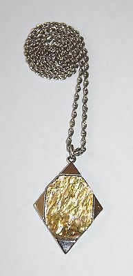 Vintage 1970's Exquisite Abalone Shell & Silver Tone Modernist Pendant Necklace