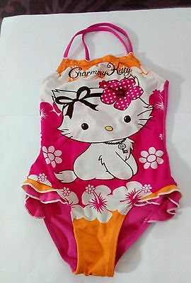 """Maillot De Bain Fille 1 Piece Rose Vif Marque """"charmmy Kitty"""" Taille 6/8 Ans Tbe"""