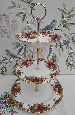 "Royal Albert ""Old Country Roses"" Medium 3-tier cake stand"
