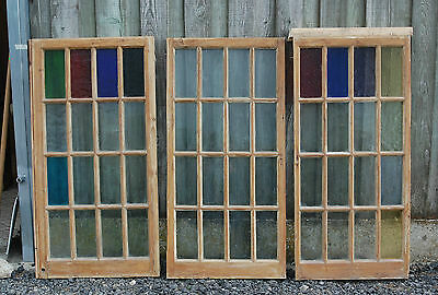 A SET OF THREE  PRETTY RUSTIC PINE WINDOWS WITH PLAIN AND COLOURED GLASSref 689