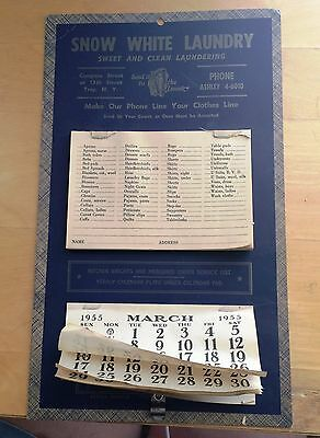 1955 Snow White Calendar with laundry pick-up order sheets!