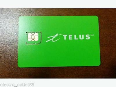 New Telus Micro Sim Card 3G 4G LTE prepaid postpaid Ready to Activate