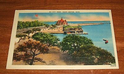 South Boston Mass; City Point 1948 cancelled postcard in Good Condition.