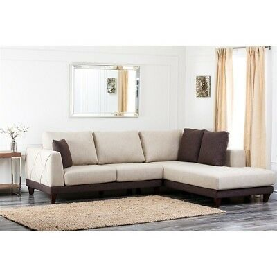Abbyson Living Juliette Fabric Sectional Sofa Mahogany Sectionals In Cream