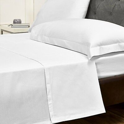WHOLESALE White Cotton Rich Hotel Quality - Single, King & Queen Bed Flat Sheets