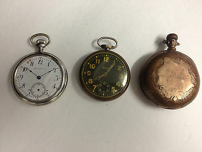Lot of 3 Antique Pocket Watches for parts - SOLD AS IS - SDB1