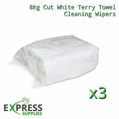 3 x 8KG WHITE TERRY TOWELLING CLEANING RAGS / WIPERS PRESS PACKED BAG