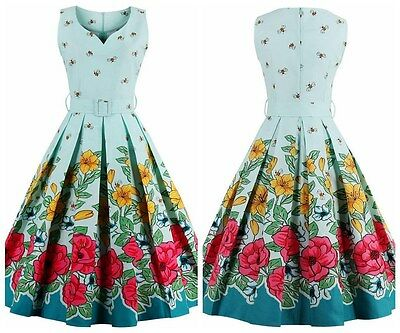 Size 12 1950's floral retro vintage style swing Garden Party Summer Dress