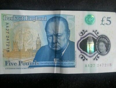 New Rare Five Pound Note Low Serial Number AA27 £5 Polymer Note