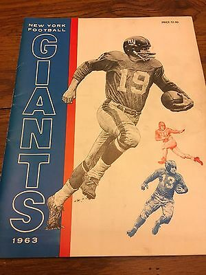 1963 New York Giants Football Yearbook  Frank Gifford Ya Title Rosey Grier Ex