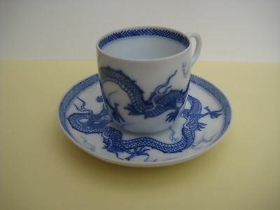 Vintage Chinese porcelain cup and saucer, blue dragon pattern