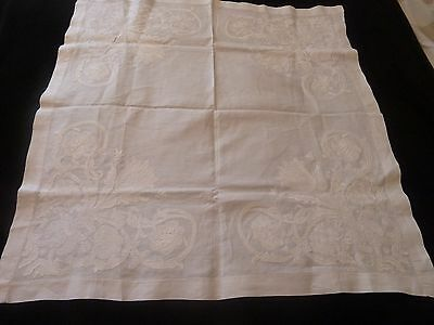 Vintage White embossed Embroidered  Table Cloth Linen