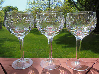 3 Gorham Crystal Bamberg Cut Glass Water Goblets 7 3/8""