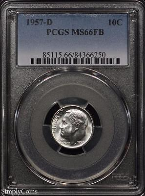 1957-D Roosevelt Silver Dime ~ PCGS MS66 FB FULL BANDS ~ STUNNING! #6250