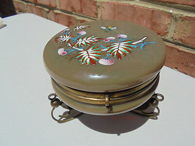 Antique Victorian Enamel Brown Opaline Glass Jewelry Trinket Box Bronze Mounts