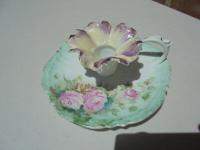 RS Prussia Style Porcelain Chamber Stick w Pink Roses Morning Glory Style