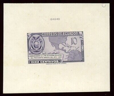 Equador 1943 Map Die Proof American Bank Note Company