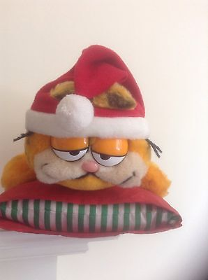 Vintage Christmas 1980'S Soft Toy Garfield On Cushion With His Christmas Hat