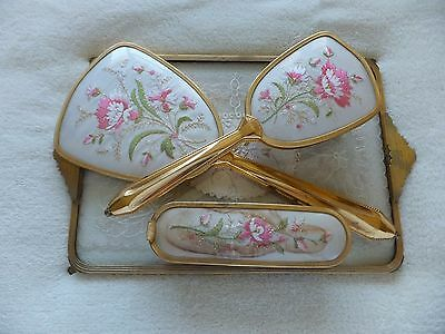 Vintage 4 Piece Petit Point Vanity / Dressing Table Set